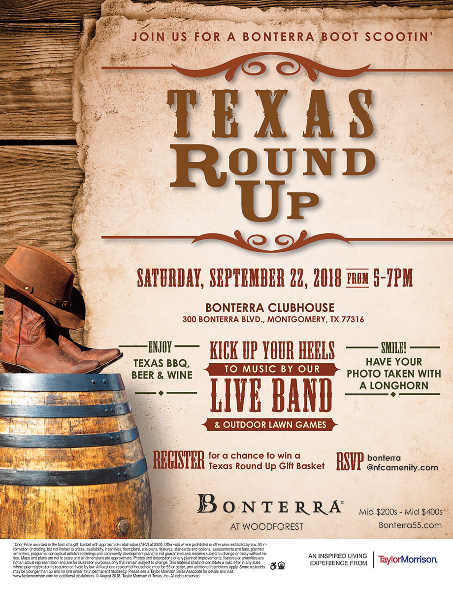 Texas Round Up Event: Saturday, September 22, 2018 from 5-7 PM